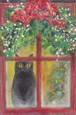 クリスマス 赤い窓のネコ(パステル画 原画) 額装込み