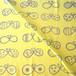 【オーガニックコットン スムースニット生地】まるちょうちょ(yellow-grey)98cm単位(幅142cm):受注生産