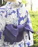 半幅帯【さざなみ】紫色