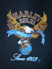 80's Center Star Harley RULES Earth Design Harley-Davidson 1987 T-Shirts(黒)