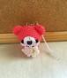 【受注生産】お花・コーラルピンク色クマさん*鈴付きイヤホンジャックストラップ