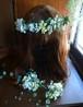 ナチュラルグリーンと実と小花の花冠とリストレット、ブートニア