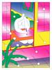 Chou Yi(周依)リソグラフ 作品「白牡丹」