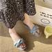 レディース サンダル ねじりストラップ スクエアトゥ ローヒール 合皮 革 ぺたんこ 青 ブルー 黄 イエロー ベージュ 夏 海 旅行 リゾート 韓国