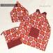 子供エプロン/三角巾/巾着袋セット バッククロスタイプ フラワー/デニムスター 120サイズ