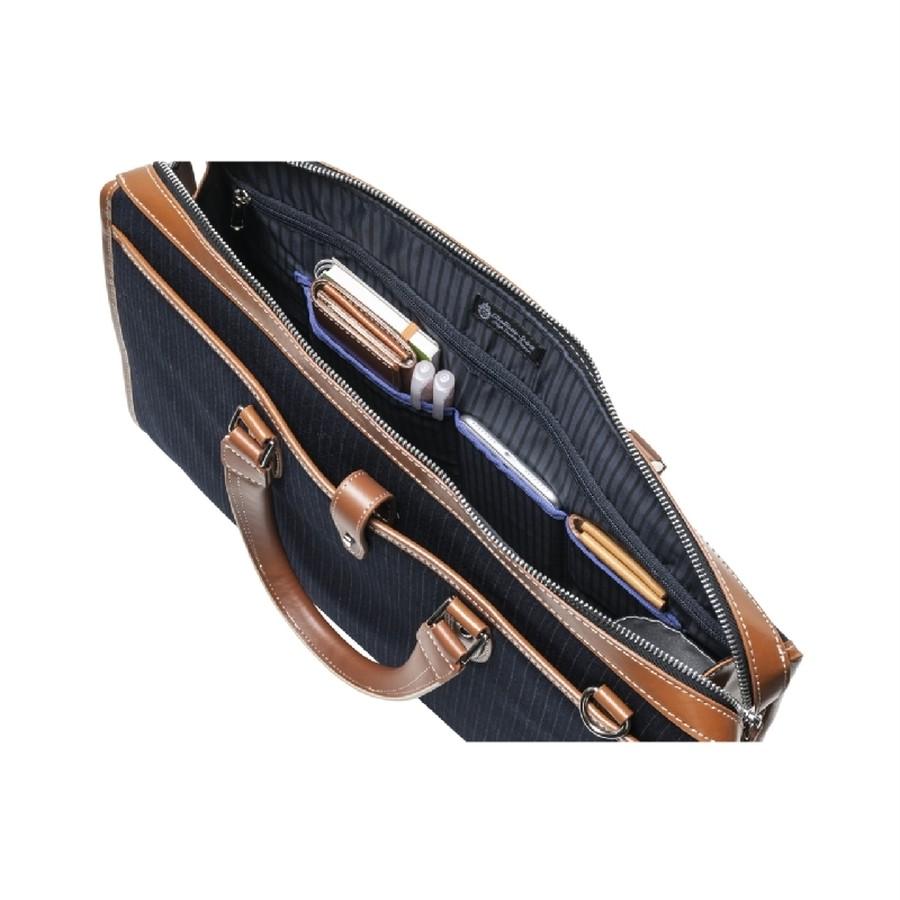 貴重品など入れられるファスナーポケット+小分けに便利な3分割ポケット。