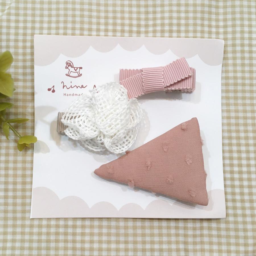サーモンピンク三角ヘアクリップ×メッシュブーケ(下地ブラウン)×ピンクリボン