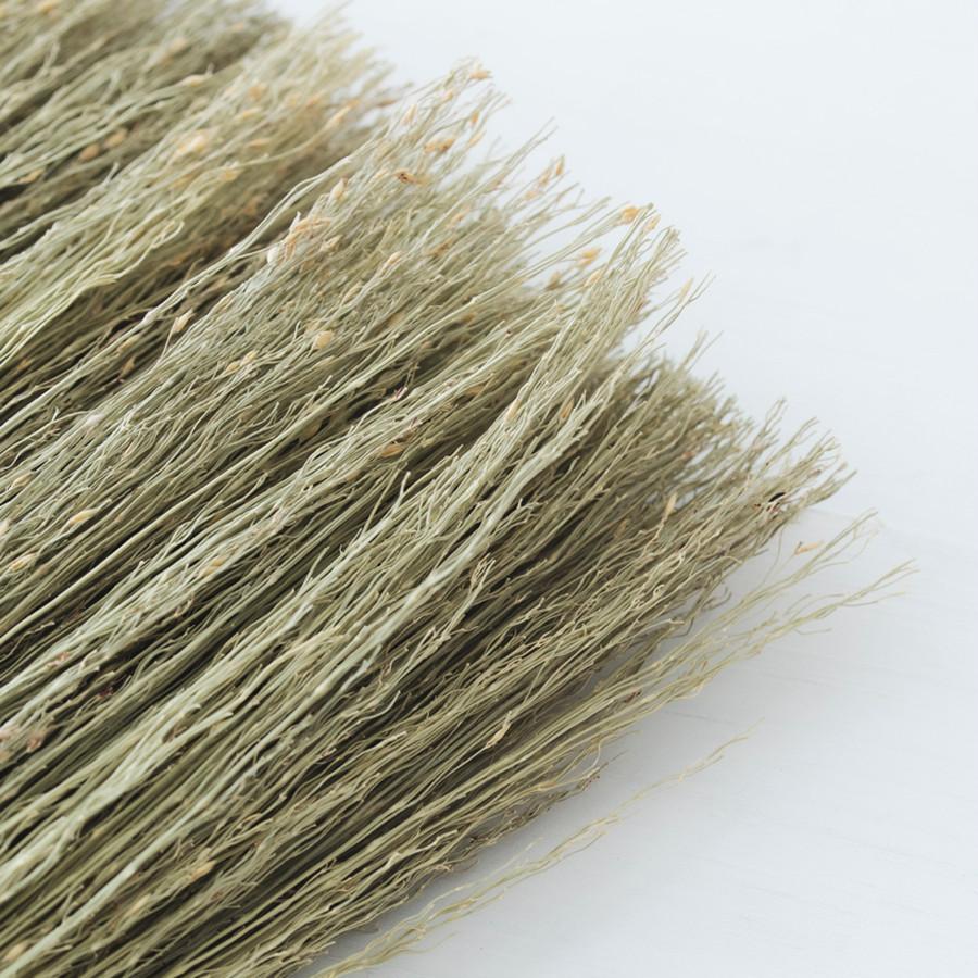 穂先は、農薬を使わずに育てたホウキモロコシを使用。経年により穂先が乱れた時は、カットしながら使う。