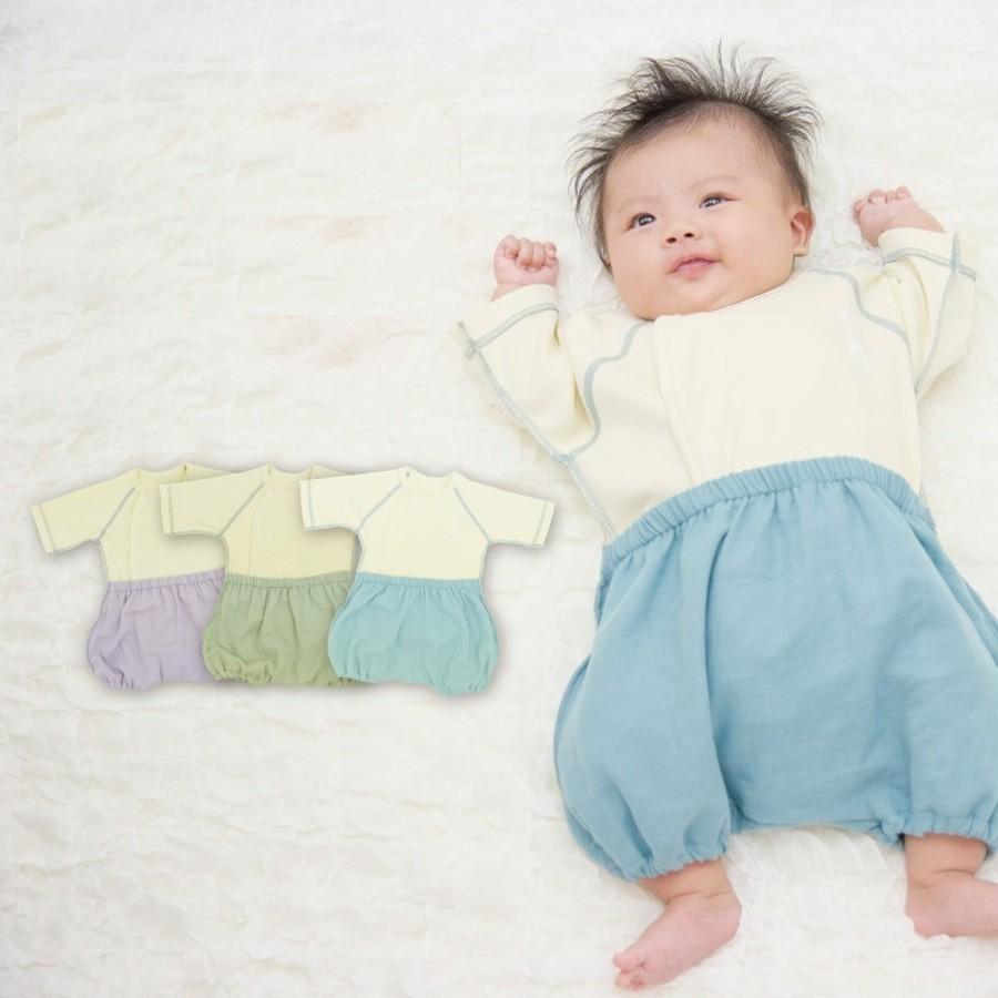 新生児でもお着替え簡単カバーオール ラクラクふわふわバルーンオール ナチュラル(日本製)