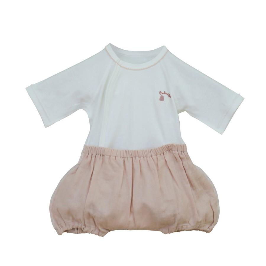 出産祝いギフトに! 可愛くて着替えやすいカバーオールラクラクふわふわバルーンオール/スタイのセット