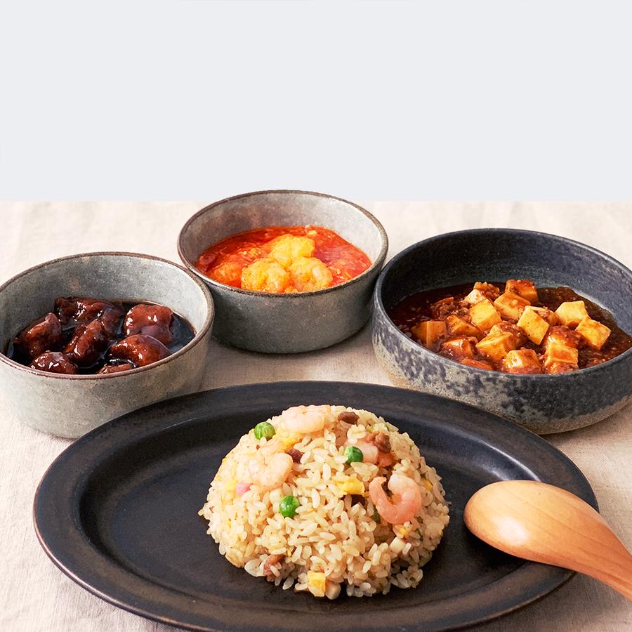 菰田シェフ厳選4品種の中華料理をご自宅にお届けします。
