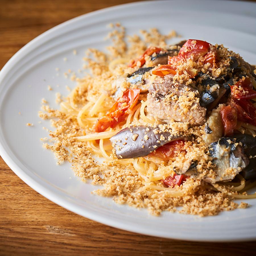 秋刀魚と茄子のペペロンチーノ