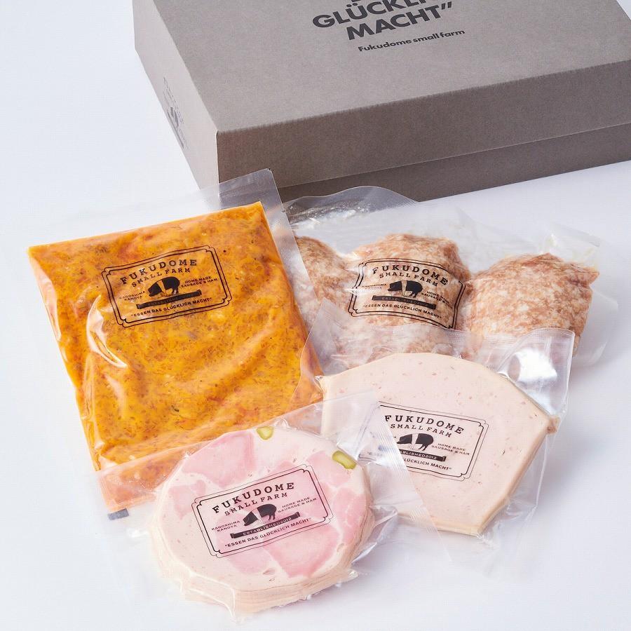 左から時計回り:肉屋のラグーソース、幸福豚ハンバーグ、フライッシュケーゼ〈細びき〉、ビアシンケン